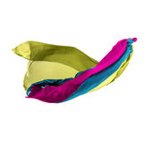 Abstract multicolored fabric in motion. Abstract pieces of fabric flying, high-speed studio shot Stock Photos