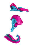 Abstract multicolored fabric in motion. Abstract pieces of fabric flying, high-speed studio shot Royalty Free Stock Photography
