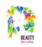 Abstract Multicolored face. Abstract illustration. Multicolored face of the girl on a light background stock illustration