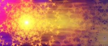 Abstract multicolored festive background purple yellow pink color stars in the form of the sun stock photo