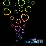 Abstract multicolored flying hearts on black Royalty Free Stock Photo