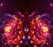 Artistic abstract fractal 3d computer generated flower fractals background vector illustration