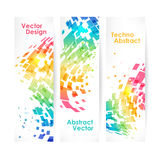 Abstract multicolored geometric background, set of banners. Business cards Stock Photos