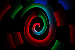 Abstract multicolored glowing in spiral pattern stock images