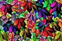 Abstract multicolored grafisch patroon als achtergrond, decor met kunststickers in bladvorm stock illustratie