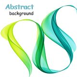 Abstract multicolored waves on a white background. Abstract multicolored green and blue waves on a white background Royalty Free Stock Photography