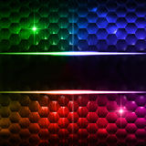 Abstract multicolored hexagons background with text space. Abstract multicolored background with hexagons, lights and text space Stock Photo