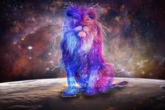 Abstract Multicolored Lion Sitting On Top Of een Kleurrijke Bol met een Melkweg op de Achtergrond royalty-vrije illustratie