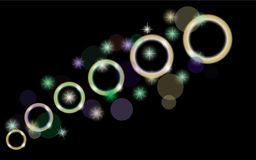 Abstract, multicolored, neon, bright, glowing circles, balls, bubbles, planets with stars on a black background of space. Vector illustration Stock Photos