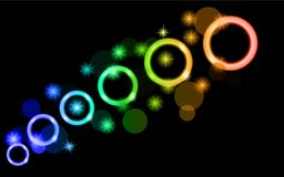 Abstract, multicolored, neon, bright, green, green, blue glowing circles, balls, bubbles, planets with stars on a black background Stock Photos