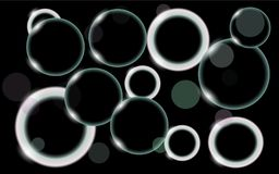 Abstract, multicolored, neon, shiny, bright, black and white, glowing circles, balls, bubbles, light spots with bokeh effect on a. Black background. Vector Royalty Free Stock Photo