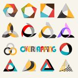 Abstract multicolored overlapping geometric polygon shape logo design marks set Royalty Free Stock Photos