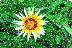 Abstract multicolored pointillist painting - one big flower royalty free illustration
