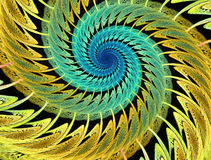 Abstract multicolored psychedelic spirals on black background. Computer-generated fractal in emerald green, yellow and blue colors Royalty Free Stock Images