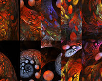 Abstract multicolored puzzles with fantasy ornament on black background. Royalty Free Stock Photos