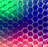 Abstract multicolored shining hexagons background Stock Images