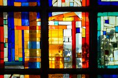 Free Abstract Multicolored Stained Glass Window. Beautiful Pattern With Geometric Lines Stock Photography - 174056352