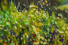 Abstract multicolored summer flowers. Glade of spring flowers. Enlarged Fragment of the picture. Expressionism with acrylic. Natur. Abstract multicolored summer stock illustration