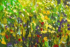 Abstract multicolored summer flowers. Glade of spring flowers. Enlarged Fragment of the picture. Expressionism with acrylic. Natur. Abstract multicolored summer vector illustration