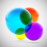 Abstract multicolored transparent spheres Stock Image