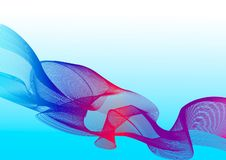 Abstract multicolored waves on a blue background stock illustration