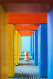 Abstract multicolored wooden tunnel. Stock Images
