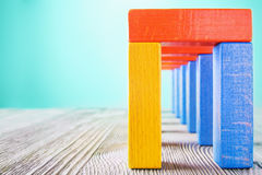 Abstract multicolored wooden tunnel. Royalty Free Stock Photo