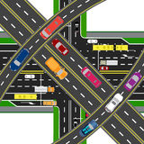 Abstract, multilevel transport hub. The intersections of various roads. Transport. illustration Royalty Free Stock Photos