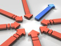 Abstract with multiple arrows gathered. One of them represents leadership. 3D illustration Stock Image