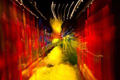 Abstract with multiple color lights in motion.  Stock Image