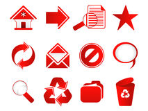 Abstract multiple red web icon set. Vector illustration Stock Photography