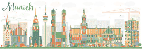 Abstract Munich Skyline with Color Buildings. Vector Illustration. Business Travel and Tourism Concept with Historic Architecture. Image for Presentation Royalty Free Stock Photography