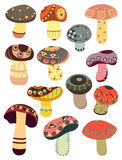 Abstract mushrooms. Set of abstract colorful mushrooms Royalty Free Stock Photography