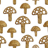Abstract mushrooms pattern. Gold hand pained seamless background. Royalty Free Stock Photos