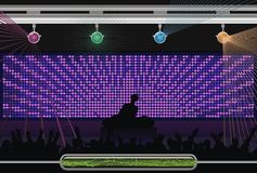 Abstract music. Silhouettes of people dancing at night club Royalty Free Stock Photo