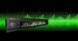 Abstract Music. 3D rendered equalizer on a black/green background Vector Illustration