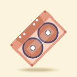 Abstract music audio cassette on old retro background, vector Stock Photo