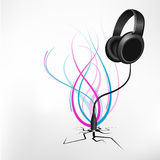 Abstract music background. Let the music rock. Audio jack cracking the hole releasing the sound wave Vector Illustration