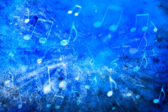 Abstract Music Background. A blue abstract background with music notes royalty free stock images