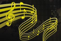 Abstract music background. Notes lines strip grunge Stock Photography