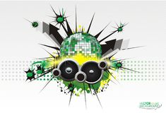 Abstract music background. Digital speaker blot disco sphere Royalty Free Stock Images