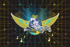 Abstract music background. Wings disco sphere dj pult speakers notes Stock Image
