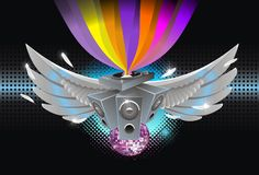 Abstract music background. Dj pult wings speakers disco sphere raimbow feather Stock Images