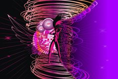 Abstract music background. Speaker girl silhouette disco sphere speakers wings notes lines Royalty Free Stock Photo