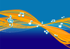 Abstract Music Background. Vector illustration of abstract music Background in orange and blue royalty free illustration