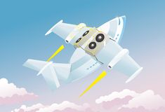 Abstract music background airplane. Plain clouds sky speakers Stock Photo