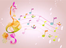 Abstract  music background with birds Royalty Free Stock Photography