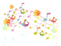 Abstract  music background with birds. Abstract cute color music background with birds, illustration Stock Photo