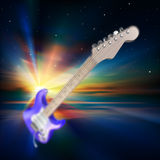 Abstract music background with electric guitar Stock Photography