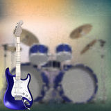 Abstract music background with electric guitar and Royalty Free Stock Photos